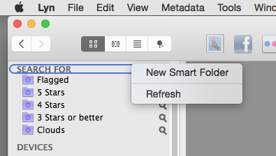 How to add a new Smart Folder in Lyn