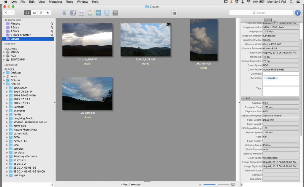 Cloud pictures from several folders are showing in one place here